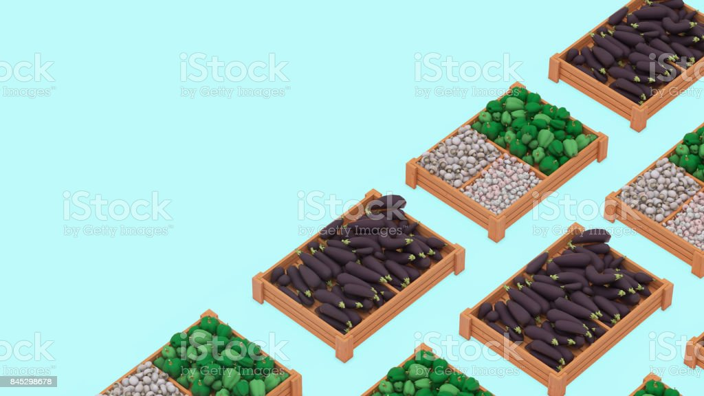 Vegetables in crates - onions and eggplant concept background template stock photo
