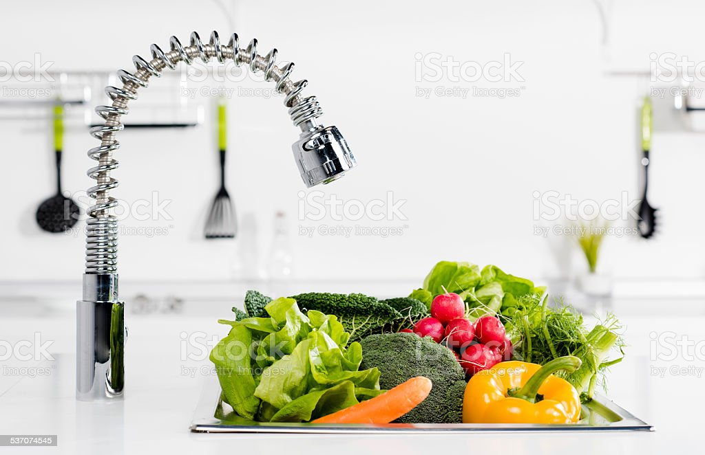 Vegetables in kitchen stock photo