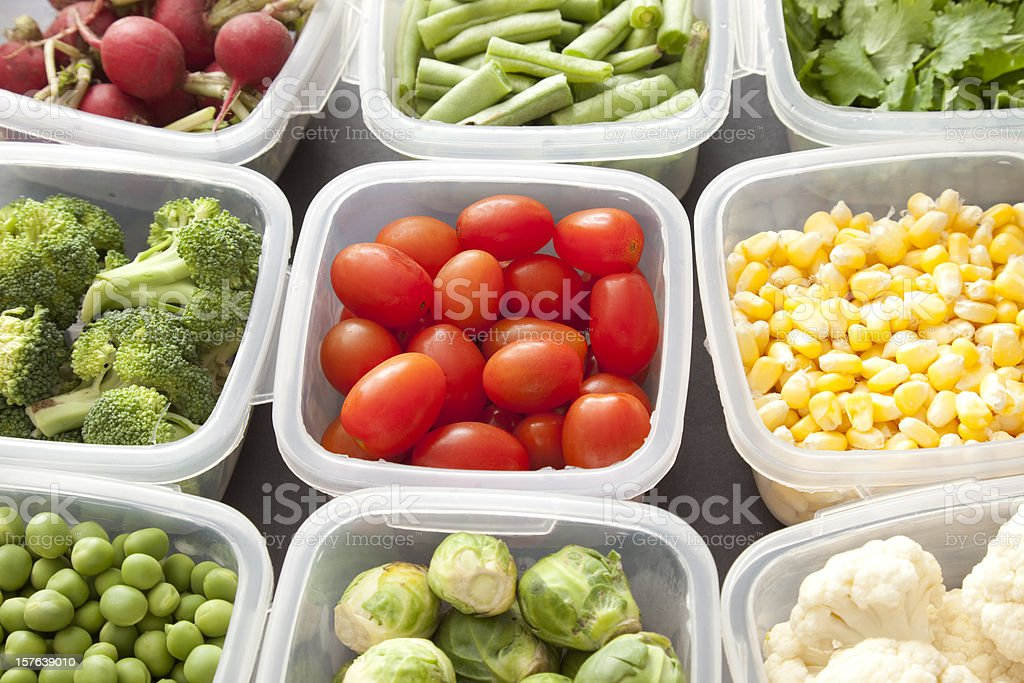 Vegetables in plastic containers stock photo
