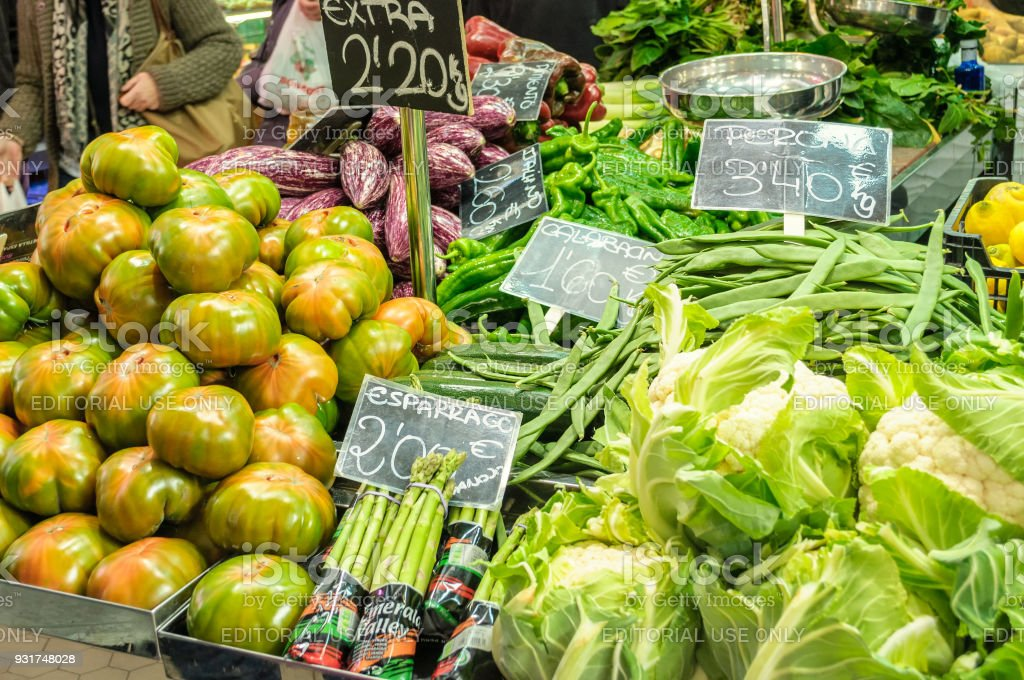 Vegetables in the Central Market of Valencia, Spain stock photo