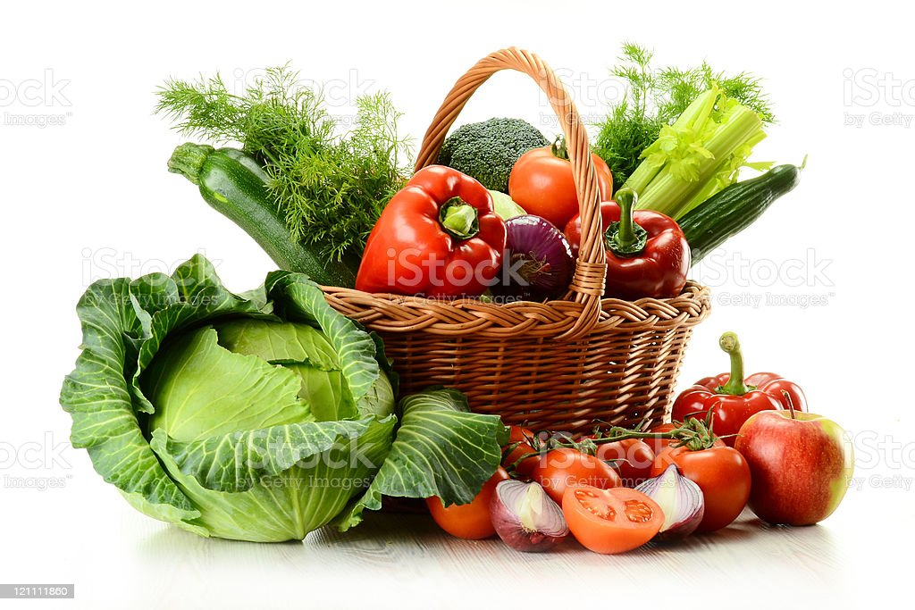 Vegetables in wicker basket royalty-free stock photo