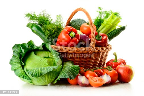 istock Vegetables in wicker basket 121111860