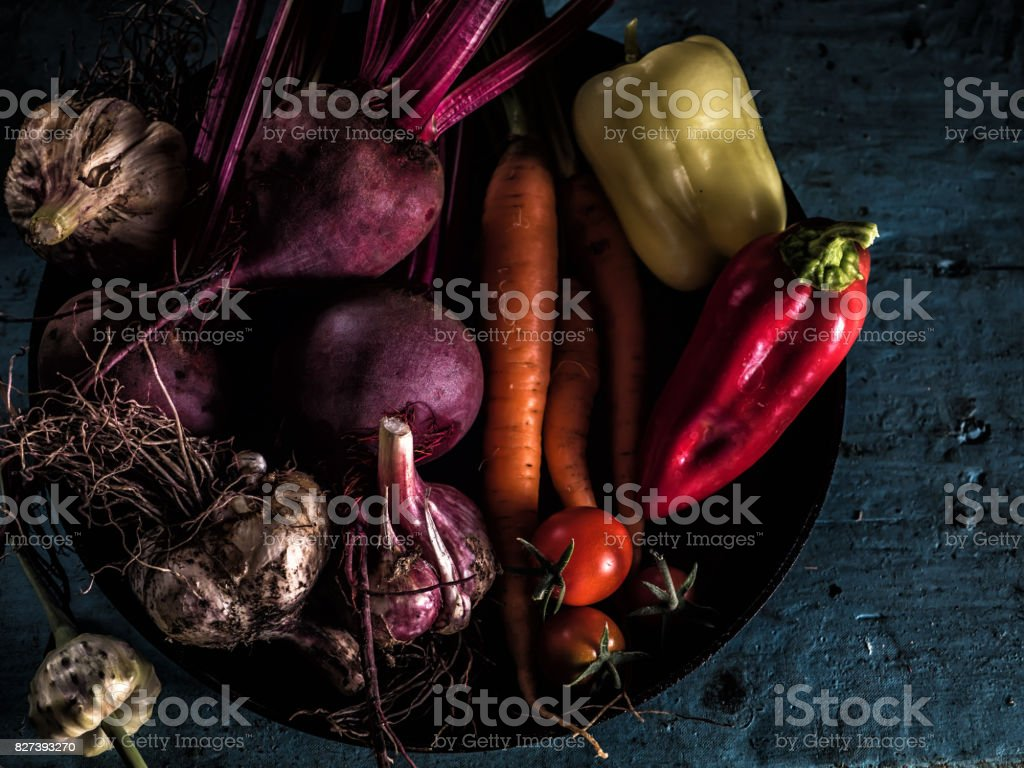 Vegetables ingredients borscht fresh harvest healthy eating stock photo