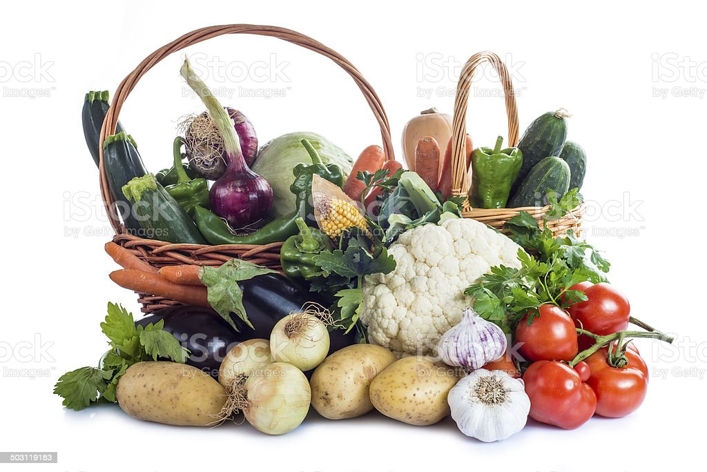 Vegetables isolated on a white background stock photo