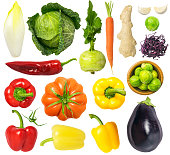 Vegetables isolated on white background: endive, cabbage, kohlrabi, pepper, eggplant, Brussels sprouts, garlic, carrot, ginger, tomato