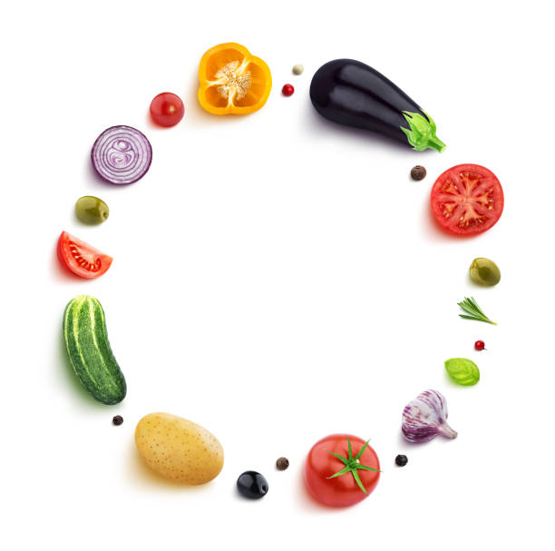Vegetables isolated on white background, top view, round frame of vegetable with empty space for text stock photo