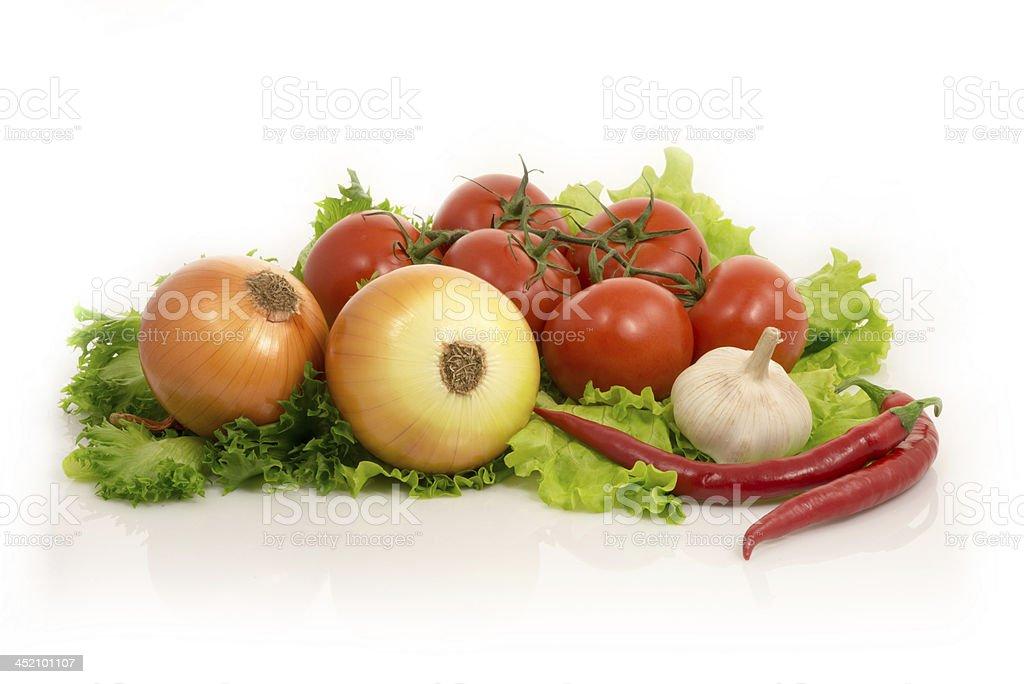vegetables - lettuce, onion, garlic,chilli pepper, tomatoes stock photo