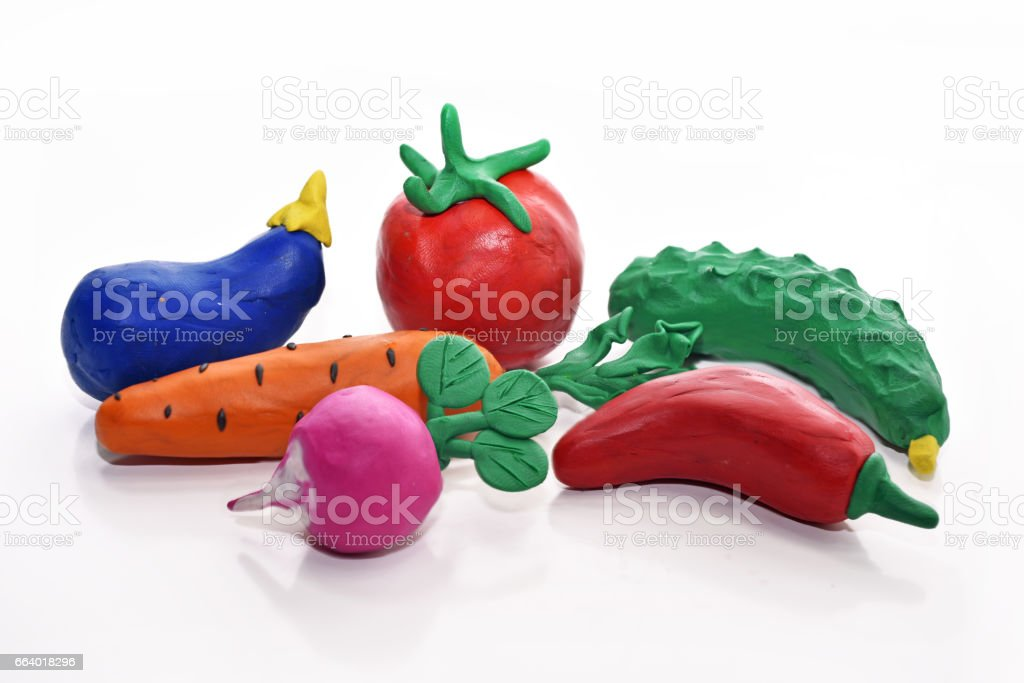 Vegetables made from plasticine. stock photo