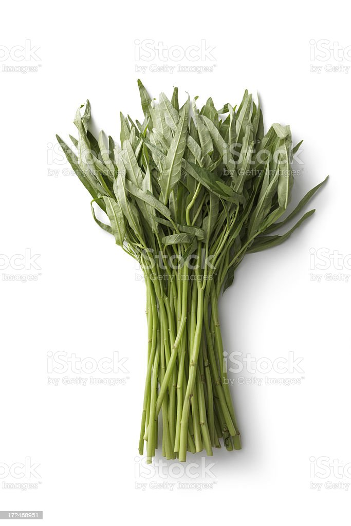 Vegetables: Morning Glory Isolated on White Background royalty-free stock photo