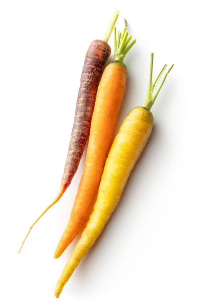 Vegetables: Multi Colored Carrots Isolated on White Background stock photo