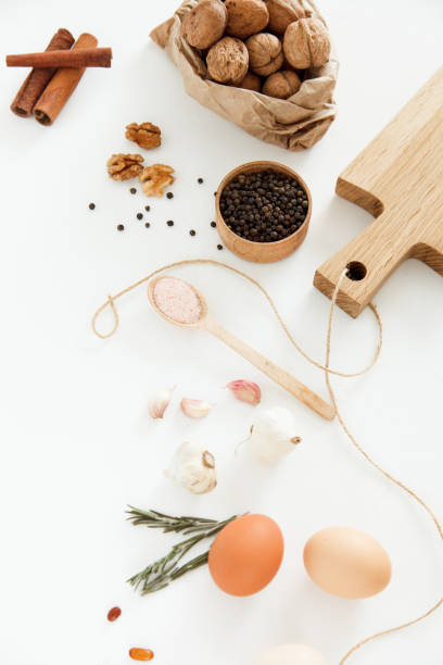 Vegetables, nuts, beans, cinnamon, rosemary, chicken eggs, other stock photo