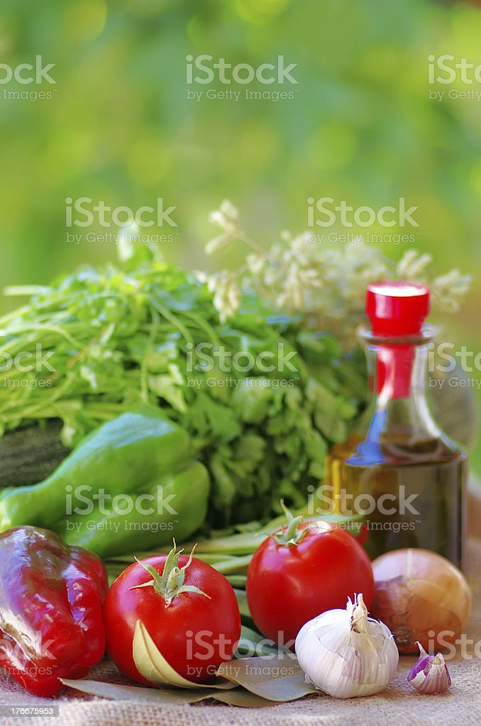 Vegetables, olive oil and ingredients royalty-free stock photo