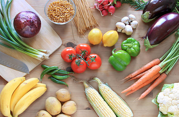 Vegetables on a table top view stock photo