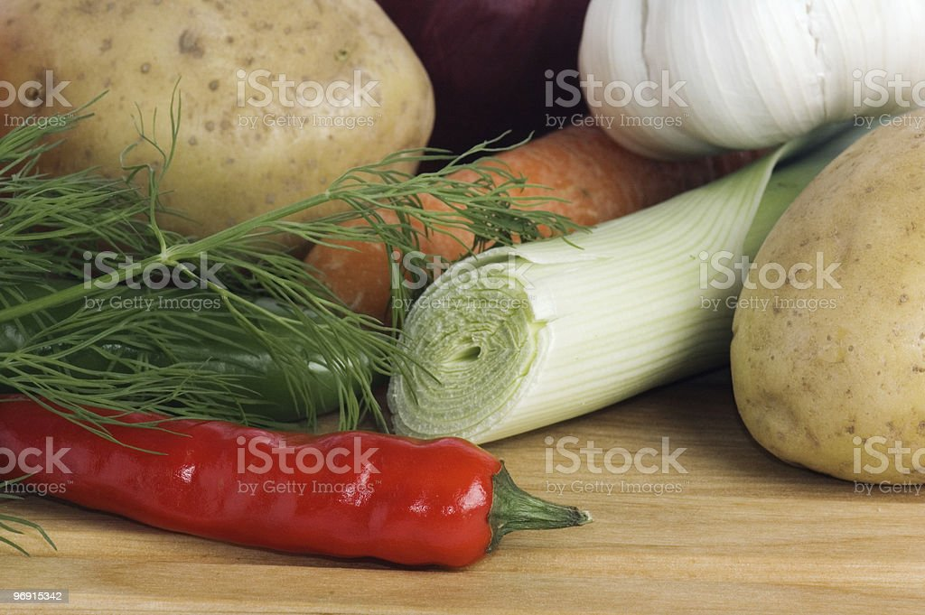 vegetables on a wooden kitchen board royalty-free stock photo