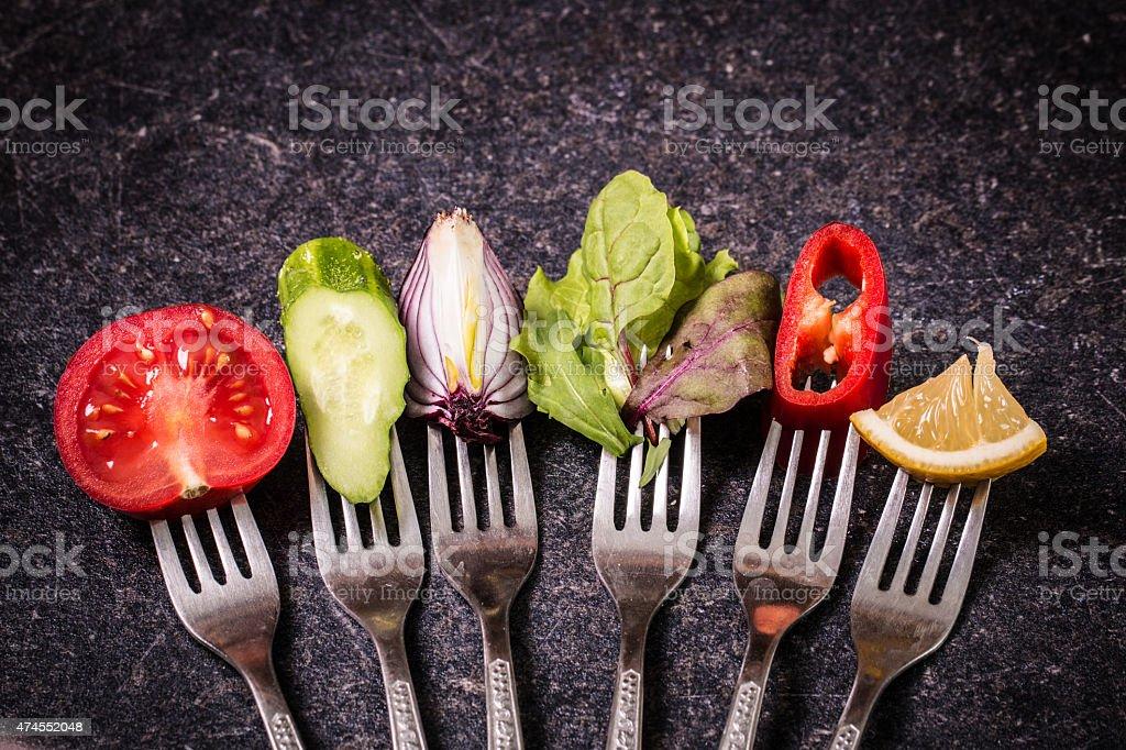 野菜をフォーク ストックフォト