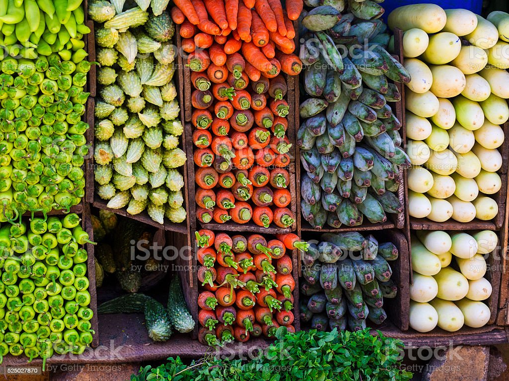 Vegetables on market in Kandy, Sri Lanka stock photo