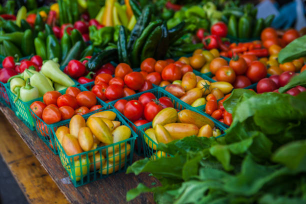 Vegetables on market stall stock photo