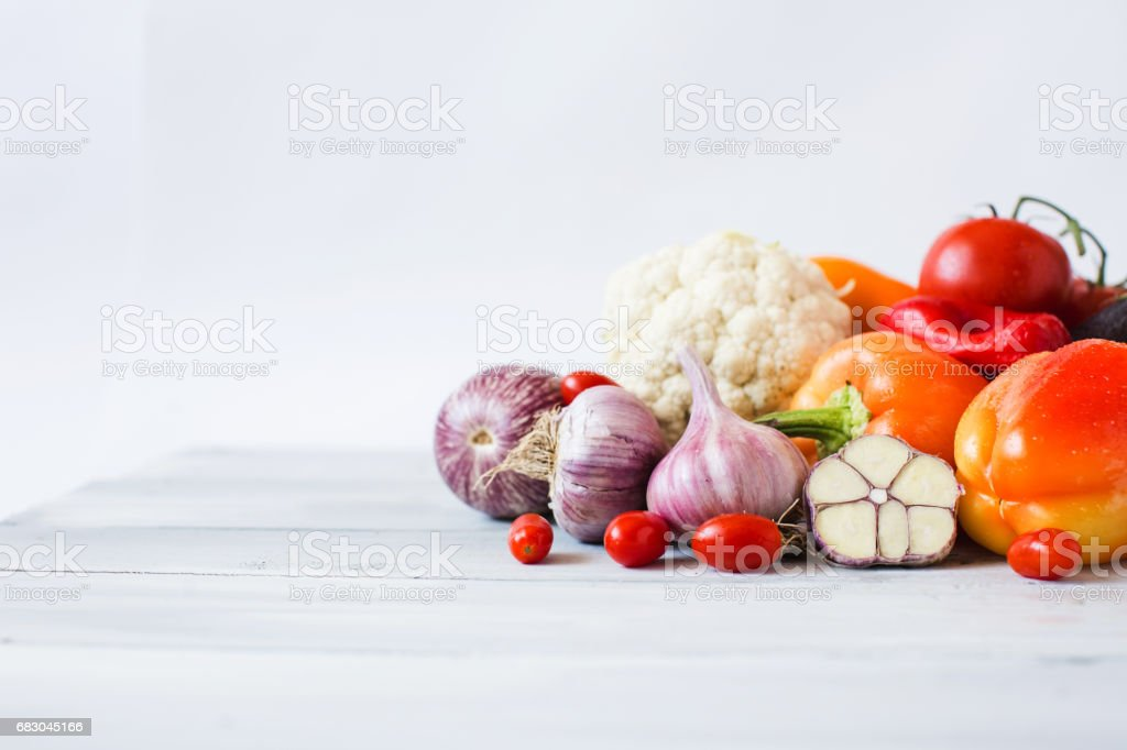 Vegetables on the table close-up. zbiór zdjęć royalty-free