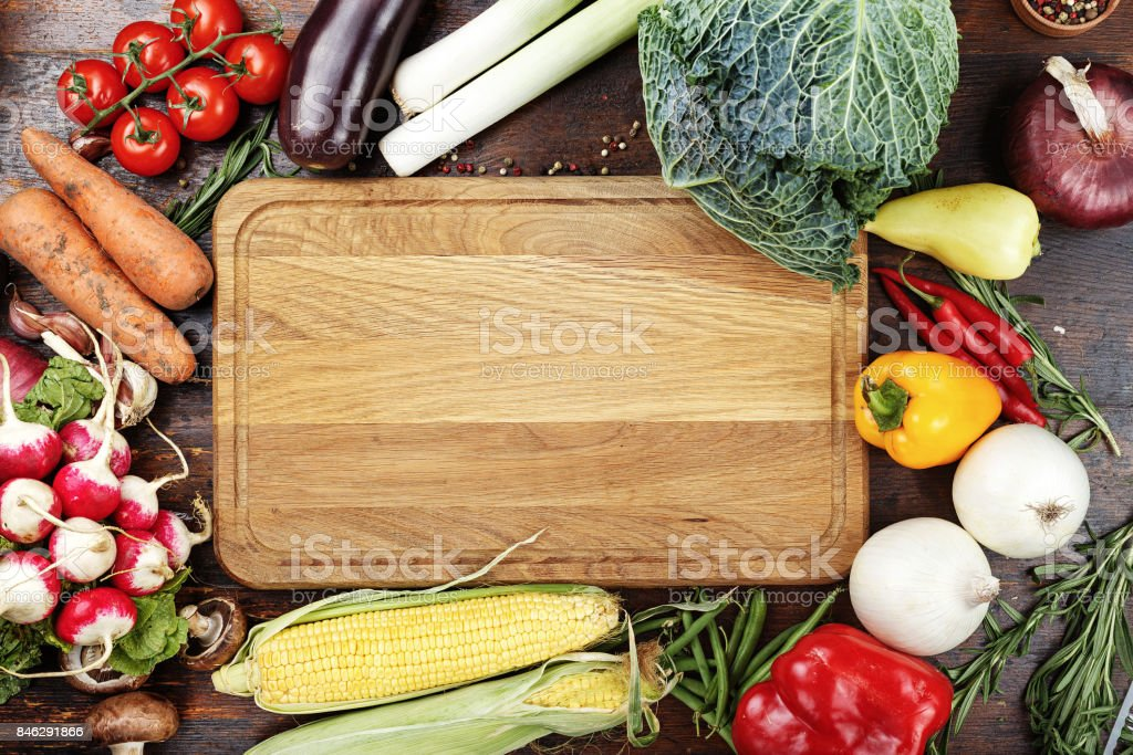 vegetables on wooden background stock photo