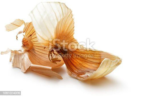 Vegetables: Onion Peel Isolated on White Background