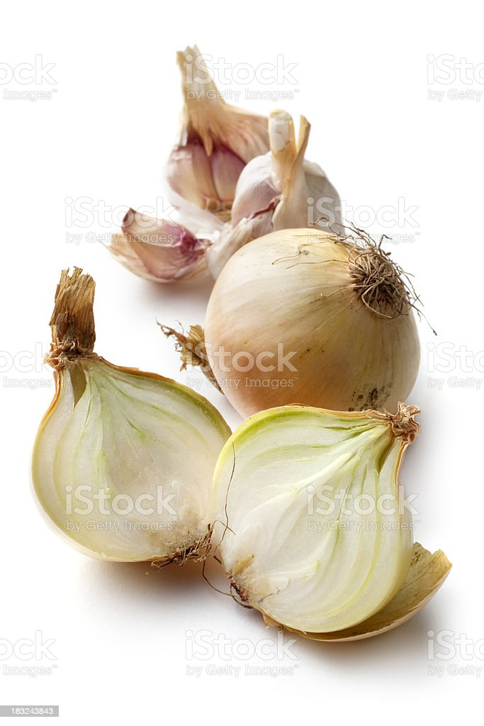 Vegetables: Onions and Garlic Isolated on White Background royalty-free stock photo