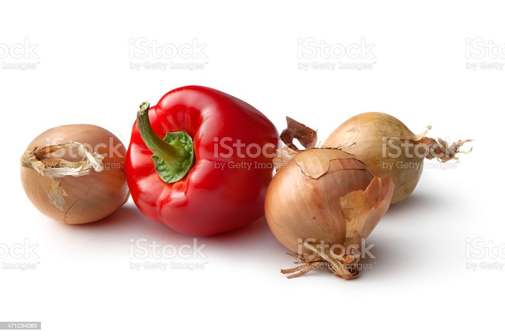 Vegetables: Onions and Red Bell Pepper Isolated on White Background royalty-free stock photo