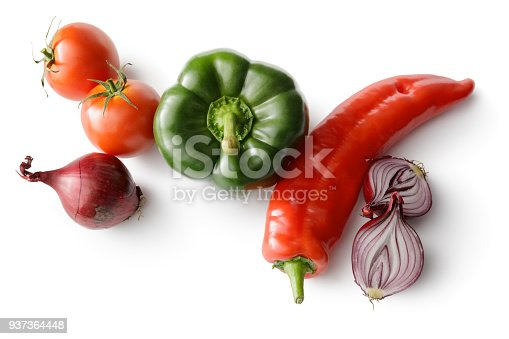 Vegetables: Peppers, Tomato and Onion Isolated on White Background
