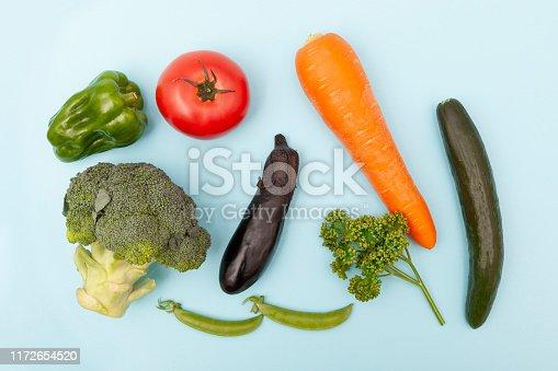 Vegetables on blue back ground