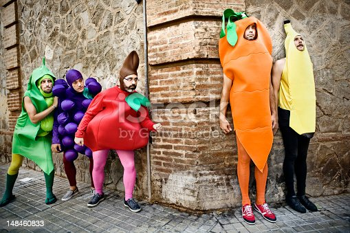 Vegetables playing hide-and-seek in the street