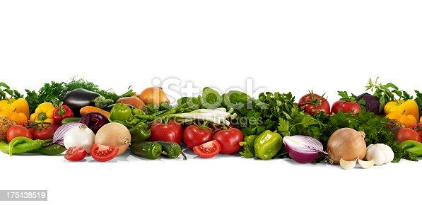 Vegetables on white background.