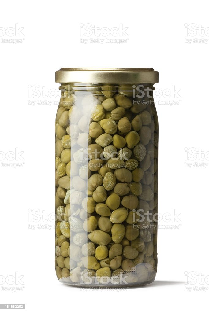 Vegetables: Preserved Capers Isolated on White Background stock photo