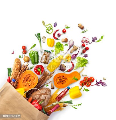 Vegetables, products that fell out of a paper bag,