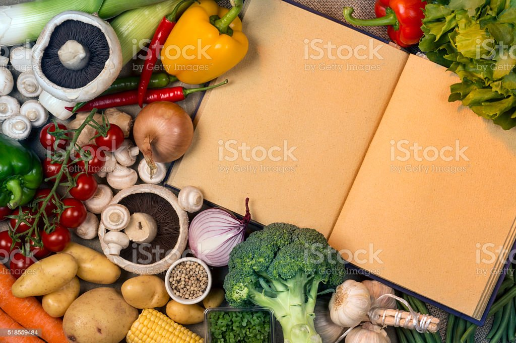 Vegetables - Recipe Book - Space for Text stock photo