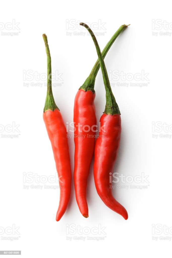 Vegetables: Red Chili Peppers Isolated on White Background stock photo