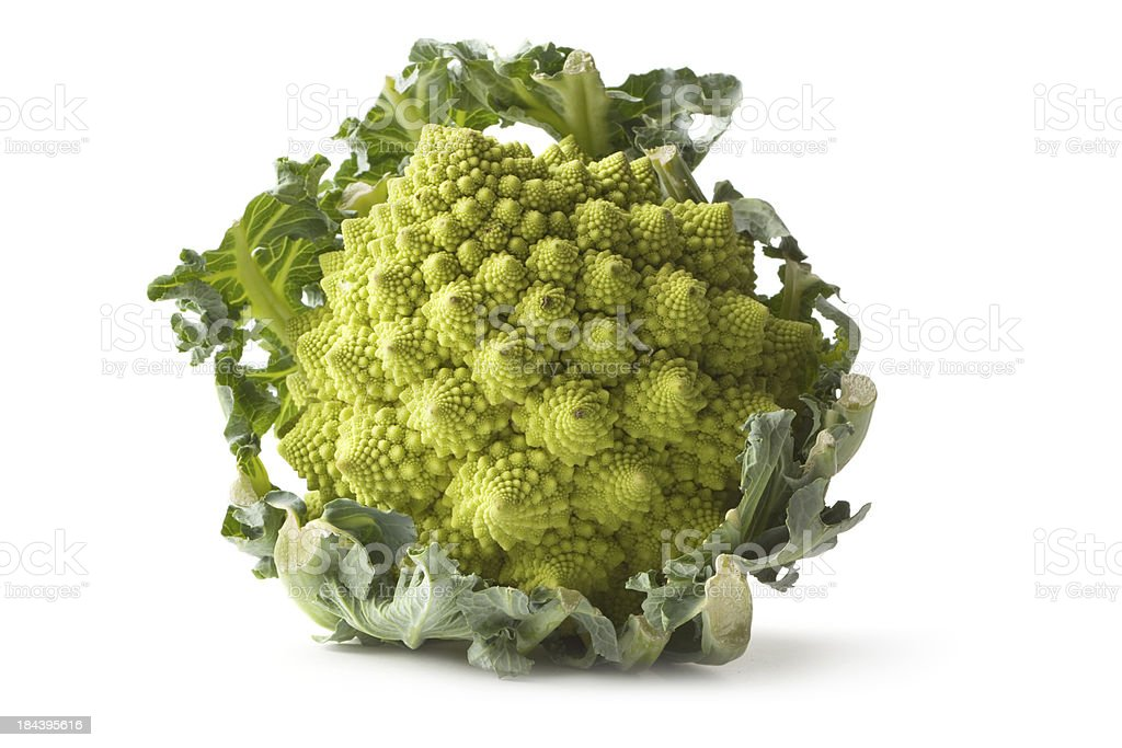 Vegetables: Romanesco Broccoli Isolated on White Background stock photo