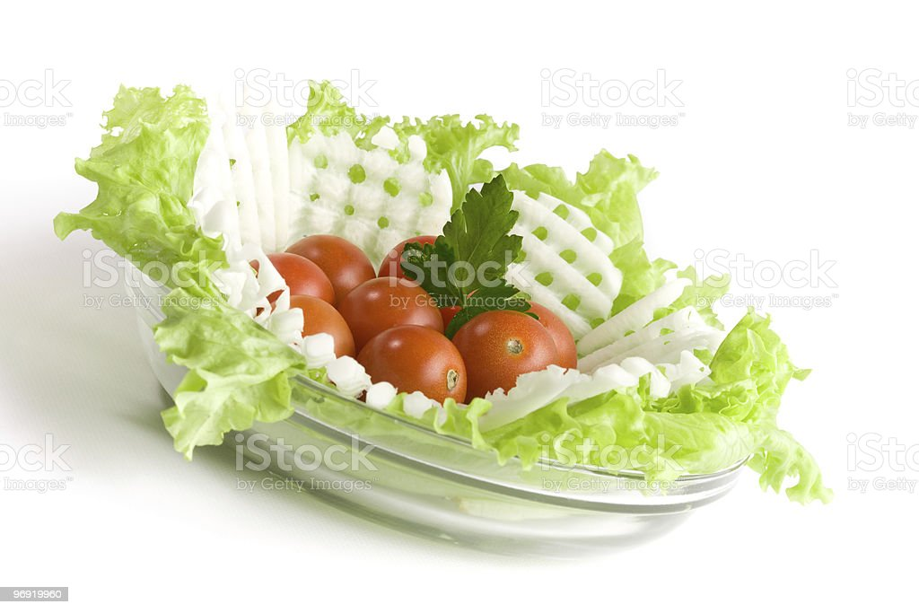 Vegetables salad in a glass bowl royalty-free stock photo
