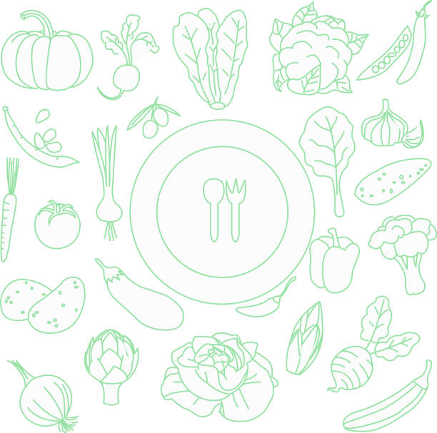 vegetables set on white isolated beckground , vegetables set pattern - icon set healthy foto e immagini stock