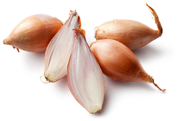 Vegetables: Shallots Isolated on White Background stock photo