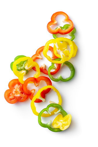 Vegetables: Sliced Bell Peppers Isolated on White Background