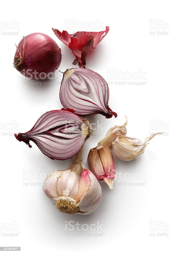 Vegetables: Spanish Onion and Garlic Isolated on White Background stock photo