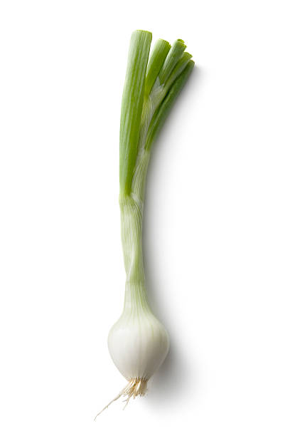 vegetables: spring onion isolated on white background - sjalot stockfoto's en -beelden