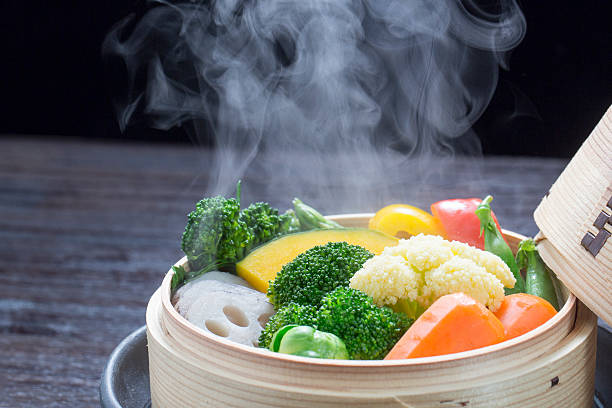 Vegetables steamed stock photo