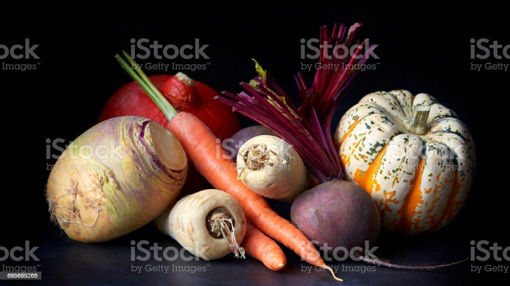 Vegetables, still life on a black background 免版稅 stock photo