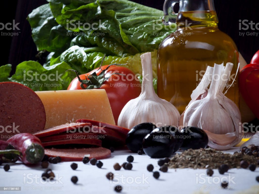 Vegetables Still Life with Other Ingredients stock photo
