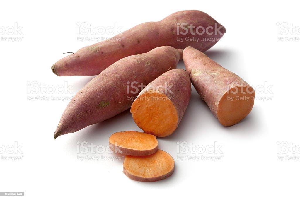 Vegetables: Sweet Potato Isolated on White Background royalty-free stock photo