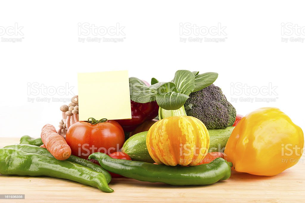 Vegetables variety and blank note royalty-free stock photo