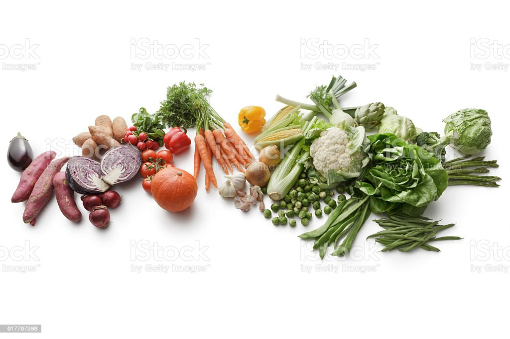Vegetables: Variety Of Vegetables Isolated on White Background stock photo