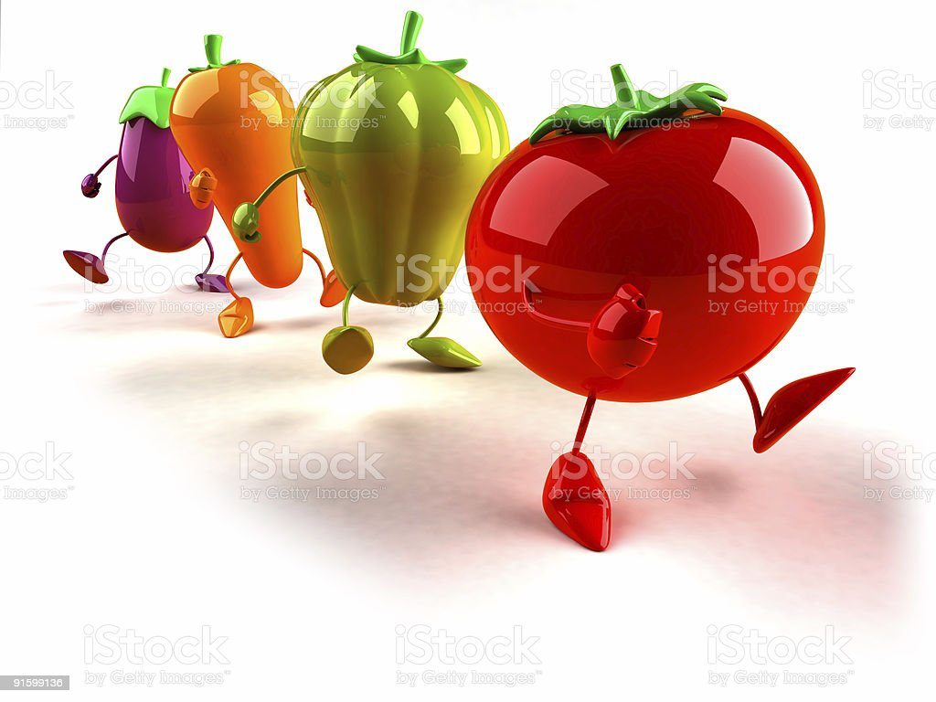 Vegetables walking stock photo