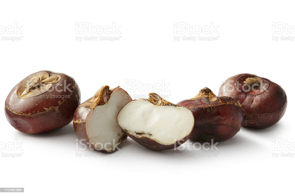 Vegetables: Water Chestnut Isolated on White Background stock photo