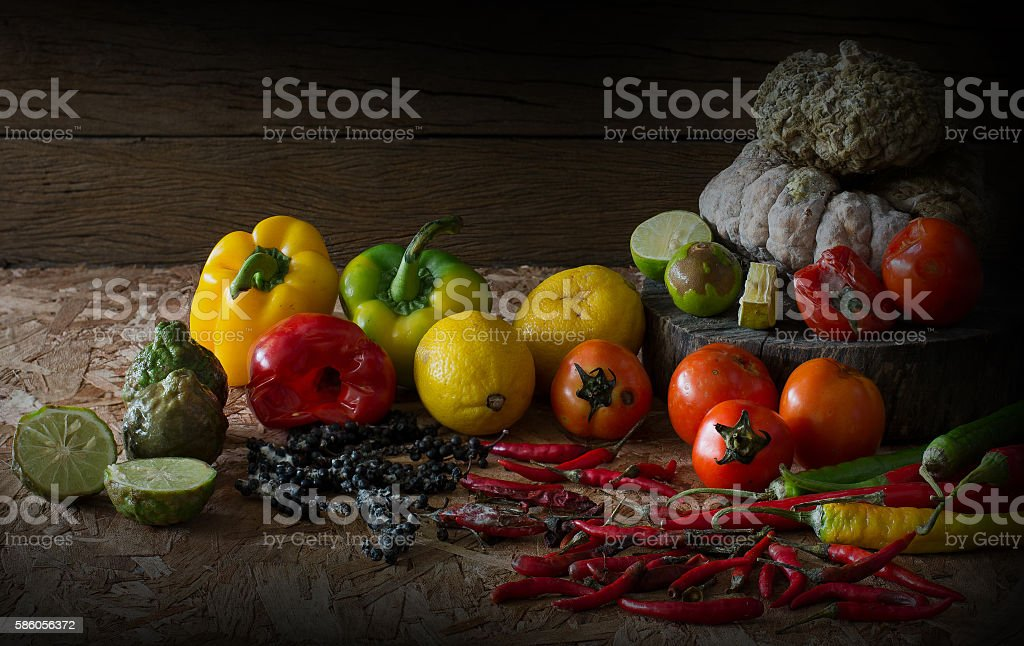 Vegetables wither and rot stock photo